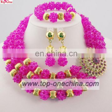 Nigeria beaded jewelry set\African wedidng necklace\Fushia color jewerly set for lady