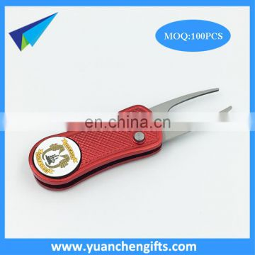 Golf club quality pop out divot repair tool with custom ball marker / folding pitch forks in stock sale
