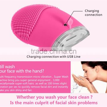 Waterproof Silicone Electric Facial Cleansing Brush Ultrasonic Face Cleaner Sonic Skin Cleaning Ultrasound Massage Beauty Care ...