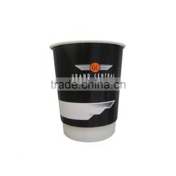 Kraft Coffee paper cups Custom Logo Printed Disposable Double Wall Hot Drink paper Cups with Lid paper cups