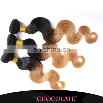 China factory Ombre two tone black and blonde Brazilian Hair Chocolate Human Hair Extension Chocolate ombre black & Brown Hair