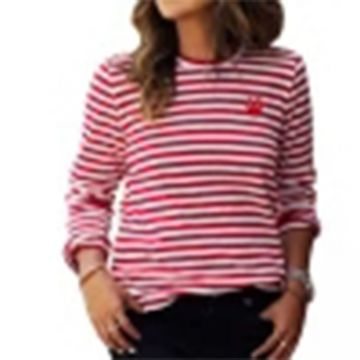 A striped long-sleeved T-shirt with flowers