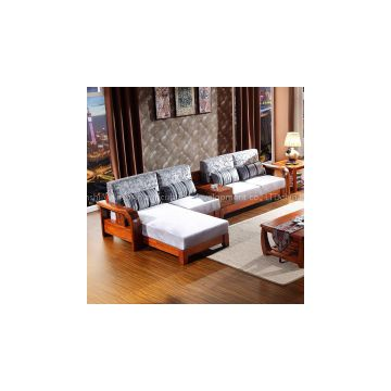 Modern Chinese style nanmu wood sofa Corner cloth art sofa combination High-grade size family sitting room furniture