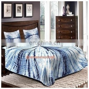 Souble Size Cotton sheet Shibori Bed cover with 2 pillow case