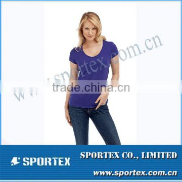 Wholesale Vintage Women Purple Cotton T-Shirt Woman