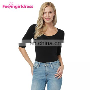 Fashion Black Womens 3/4 Sleeve Bamboo Blank Scoop Neck T Shirt For Women