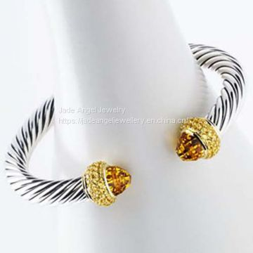 Gold Plated Sterling Silver 7mm Cable Citrine Cable Candy Bracelet Bangle