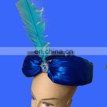 Fashion blue turban hat with feather Head Turban Wrap Polyester Turban Hat Head Cover Sun Cap