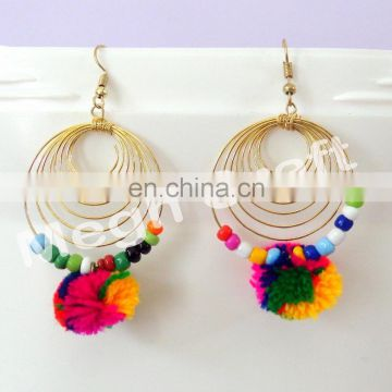 Pom Pom Earrings - Tassel pom pom Earrings - Lantern Earrings - Pom Pom Tassel Earrings