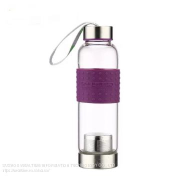 Unbreakable safe carrying travel glass water bottle with tea infuser