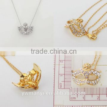 New style charm handmade fashion jewelry ladies mask chain diamond necklace N0718