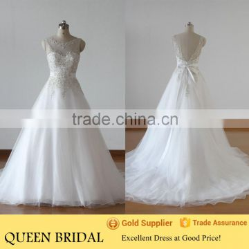 QUEEN BRIDAL Real Photos Ball Gown Tulle Embroidery Designs for Wedding Dress Sale                                                                         Quality Choice