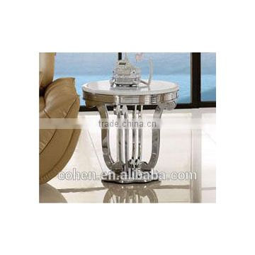 round shape thick stainless steel frame coffee table set with marble top