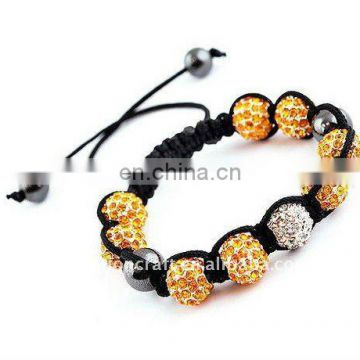 Fashion Alloy & crystal ball shambala bracelets