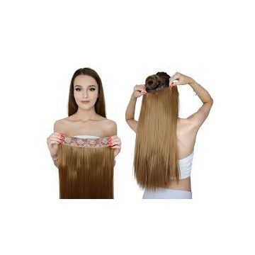 Straight Wave 18 Inches Indian Curly Human Hair Double Drawn