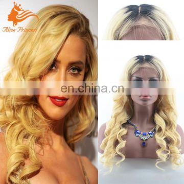 Aliceprincess Top Quality Factory Wholesale Natural Blonde Ombre Color Long Virgin Human Hair Lace Front Full Lace Wig