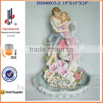 Resin indoor water fountains for home decor with two figurines