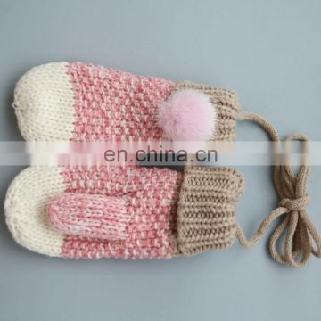 Cotton baby kids mittens with lovely mink fur pom pom for children