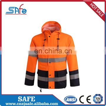 Fabric custom reflective raincoat for winter