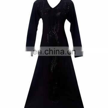 Womens's Black Colour Lycra(Stretchable) Black Stone Embroidery Work Beautiful Rick Looking Burkha
