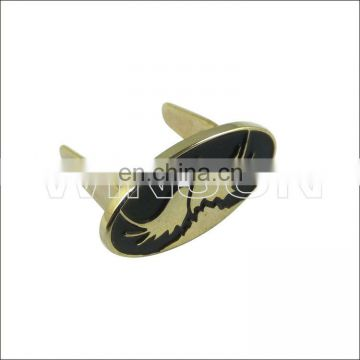 oval shape engrave custom metal logo plate for handbags