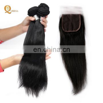 4x4 Lace Closure with Bundles Silky Straight 100% Raw Unprocessed Virgin Malaysian Hair Wholesale