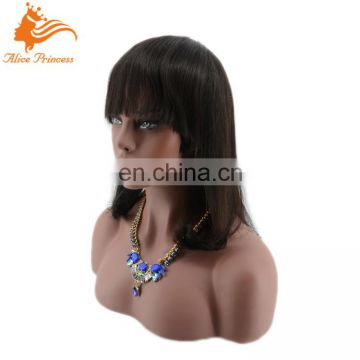 Wholesale Price 8A Grade Raw Natural Color Straight Virgin Human Indian Hair Bob Cut Full Lace Wig With Full Bangs