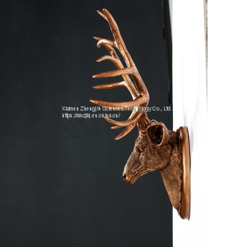 American restoring ancient ways creative simulation animal deer head wall hanging decoration style indoor resin crafts decoration home decor