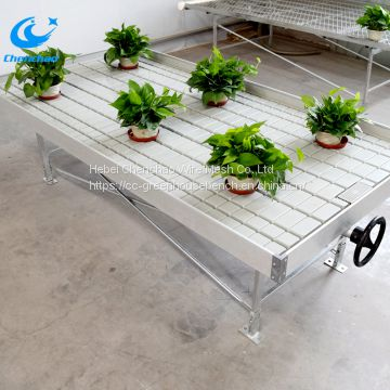 Ebb and flow grow plants bench with tray greenhouse grow plants