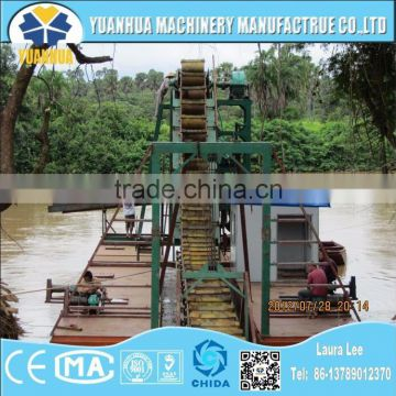 bucket chain wheel dredger and dredger ship for gold mining