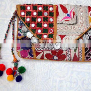 hippie banjara hand clutch bag wholesale supplier mirror bag indian coins bag top quality indian style backpack bag