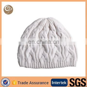 Knit cable white whole cashmere hat