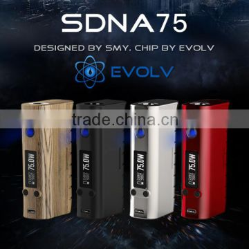 LeZT New 2016 hot selling dna75 electronic cigarette temperature control vape mod Smy box mod 75w evolv chip SDNA75