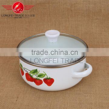 White enamel cooking pot with beautiful can custom decals