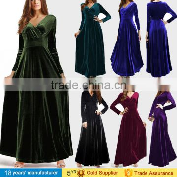 0c8aa1ba6cc Elegant vintage winter warm long sleeve maxi velvet party evening dresses  designs pakistani for women ...