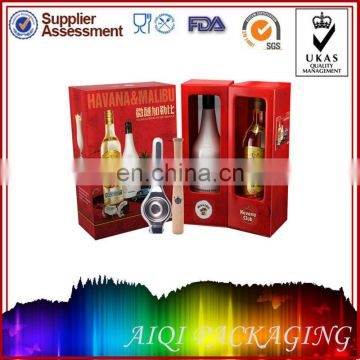 Elegant Expensive fancy personalize 2 bottle double cardboard gift boxes for wine
