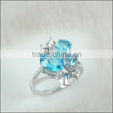 925 Sterling Silver Genuine Natural Blue Topaz Ring Rhodium Plated Hot Sale Semi-Precious Butterfly