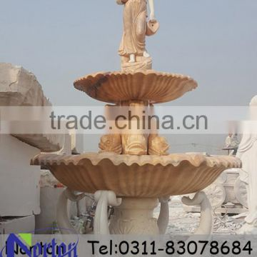 Two tier carved nude woman garden stone water fountain NTMF-SA540A