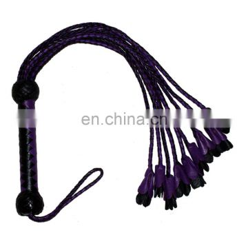 HMB-509F LEATHER FLOGGER FLOWERS TYPE BULLWHIPS MIX COLORS 9 O CAT WHIPS