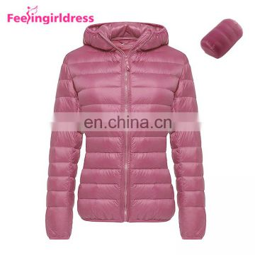 Fashion Winter 5 Color Long Sleeve Hoodie Goose Women Down Jacket