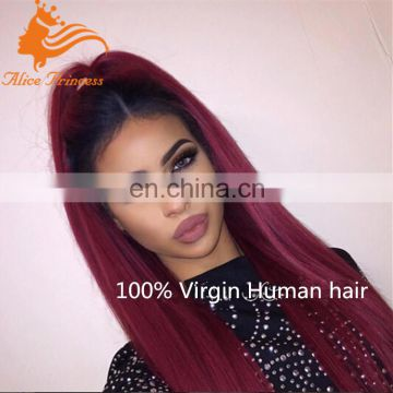 Ombre #1B/BUG Virgin Peruvian lace Wigs Human Hair Wig Two Tone Lace Front Short Wigs