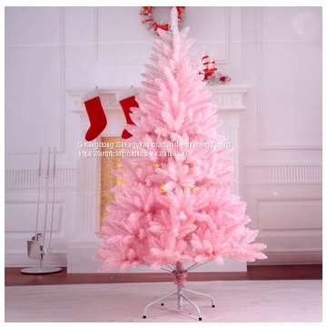 Pvc Material Small Artificial Pink Christmas Tree With Led Light