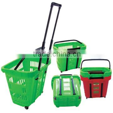 High quality supermarket chrome metal handles Shopping basket with customized colors JS-SBN04