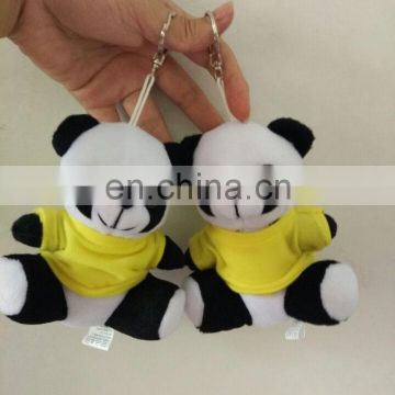 Factory wholesale in stock panda keychain plush toy animal with clothing