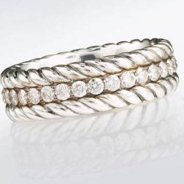 Sterling Silver Pave White Diamonds Band Ring (M-023)
