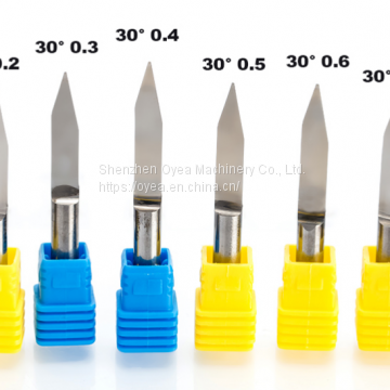 6mm Flat Bottom Engraving Bits 45-50mm Lengthened CNC Router Tools V Carbide Carving Cutters