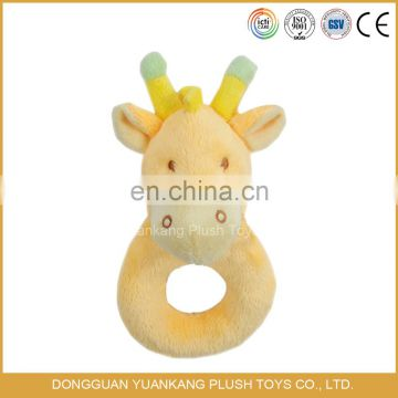 Cute infant baby plush handbell animal crinkle toy rattle