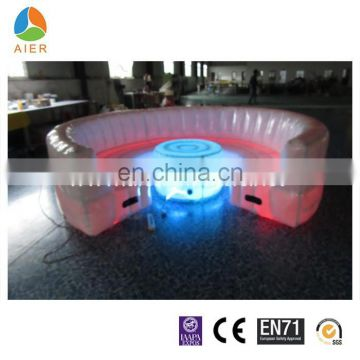 Inflatable round sofa with LED light, colorful led light inflatable sofa bed, led inflatable party sofa