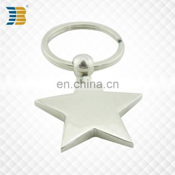 star shape custom made metal silver plating keychain