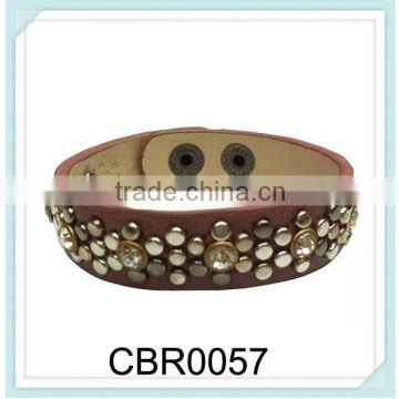 New arrival punk style fashion bangles jewelry round PU rivets crystal leather bracelet,new fashion leather bracelet jewelry